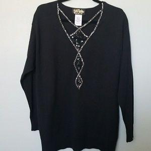 Bob Mackie wearable art sequin sweater size large